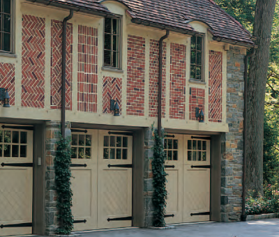 Artisan Medallion Custom Wood Carriage House Garage Door by Jolicoeur