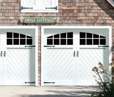 Garage doors cambridge series paintable wood composite for Composite garage doors that look like wood