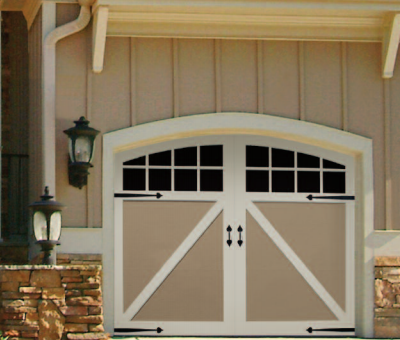 Artisan benchmark in white ... & General Doors Landmark Steel Carriage House Door With Overlay
